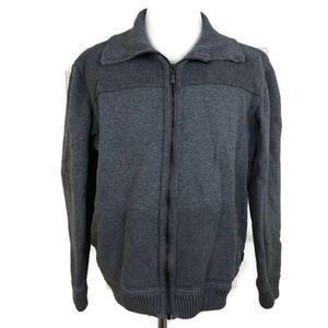Ted Baker Men's Gray Knit Full Zip Heavy Sweater